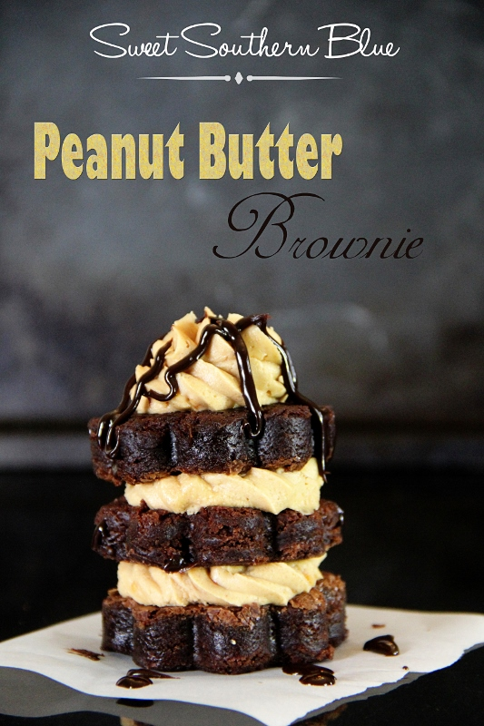 Peanut Butter Frosted Brownie Stack